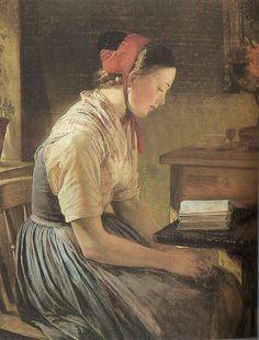 Portrait d'une jeune fille assise de trois quart, coiffée d'un bonnet rouge et lisant à une table (by Anna-Maria Elisabeth Jerichau-Baumann, 1863)