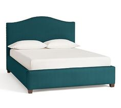 Raleigh Upholstered Camelback King Bed with Low Headboard and Bronze Nailheads, Vintage Velvet Bali