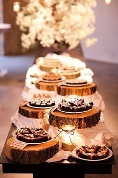 Wooden Slabs. Love this idea for food table! Or maybe on the smores table?