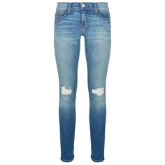 Rebecca Minkoff Jane Distressed Skinny Jeans (245 CAD) ❤ liked on Polyvore featuring jeans, pants, bottoms, blue jeans, skinny jeans, stretch skinny jeans, destroyed denim jeans and distressed skinny jeans