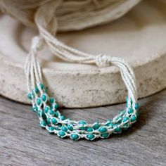 Multi strand linen necklace with mint blue glass beads Bohemian jewelry Layered necklace Gift for her Rustic chic (20.00 USD) by 100crochetnecklaces