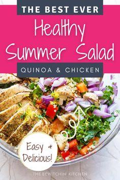 Filled with Mediterranean flavors, this summer salad is amazing! Each bite has chicken, quinoa, veggies, and a homemade vinaigrette dressing. Green Salad Recipes, Summer Salad Recipes, Slaw Recipes, Salad Dressing Recipes, Healthy Salad Recipes, Summer Salads, Paleo Recipes, Chicken Quinoa Salad, Balsamic Vinegar Chicken