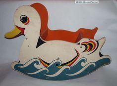 Antique Vintage American Wooden Wood Child ' S Duck Rocker Rocking Toy ...