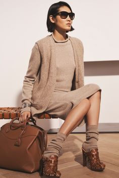 Drawing inspiration from sweater silhouettes of the 1930s, #RLCollection Pre-Spring 2021's Mouliné Cashmere Cardigan is knit from Italian cashmere yarn that is left undyed to highlight the rich depth of their natural colors, then twisted together to create a marled effect. #RalphLauren Ralph Lauren, Clothes For Women, Spring, Sweaters, Kids, Dresses, Design, Fashion, Outfits For Women