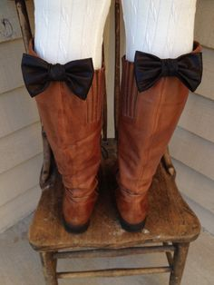 Brown Faux Leather Boot Bows - Clip on accessories for Riding boots, Tall Boots, shoes or bag on Etsy, $18.00