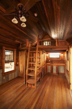 Stairs or storage? Canyon Lake Tiny House by Tiny Texas Houses.