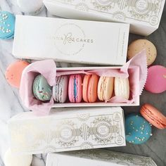 Gold foil on white Gladys 6 macaron boxes made by Georgette Packaging for Jenna Rae Cakes in Winnipeg, Manitoba, Canada.