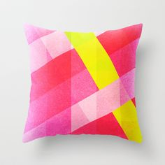 Abstract Abstraction: Pink, Yellow Throw Pillow by Blank & Vøid - $20.00