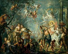 Иоганн Георг Платцер (Johann Georg Platzer, 1704-1761, Austria) -Mythological Scene with Apoll and Bacchus