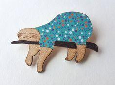 Brooch Sloth wooden brooch colorful brooch SLOTH