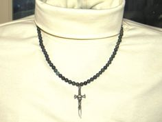Serpentine Necklace.  Skull Dagger Unisex Gemstone Jewelry.  Dark Green Stone 20 inch.  Said to help find inner peace. 410DSN by NammersCrafts on Etsy