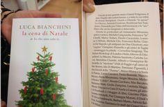 """La copertina del libro di Luca Bianchini, """"La cena di Natale di Io che amo solo te"""", e la pagina dei ringraziamenti a Gianni De Napoli e gli antipasti de I 2 Ghiottoni"""