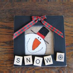 Snowman painted burlap wood picture frame with wood letters by RandomActsCraftiness on Etsy Christmas Picture Frames, Picture Frame Crafts, Christmas Wood, Picture On Wood, Primitive Christmas, Christmas Pictures, Christmas Projects, Holiday Crafts, Country Christmas