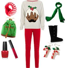 A fashion look from December 2012 featuring grey shirt, red skinny jeans and platform shoes. Browse and shop related looks. Winter Looks, Fall Winter, Cute Christmas Outfits, Winter Outfits, Cool Style, Geek Stuff, Geeks, Candy Cane, Collection
