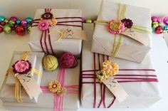 Butcher paper and yarn....good idea for that roll of butcher paper that I have...