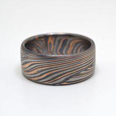 Bold 10mm wide mens Mokume Gane Ring In Palladium by ArnKrebsArts