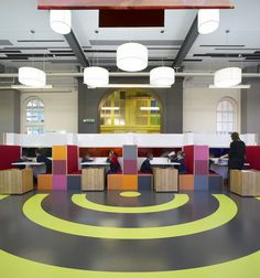 A creative environment developed by Gavin Hughes for a primary school. It uses colour, shapes and different materials that experiment with transparency. It is creative, but quite controlled - retaining some formality that is required in a schooling environment.
