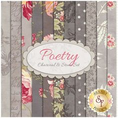 "Poetry 11 FQ Set - Charcoal & Stone Set by 3 Sisters for Moda Fabrics Poetry is a collection by 3 Sisters for Moda Fabrics. 100% cotton. This set contains 11 fat quarters, each measuring approximately 18"" x 21""."