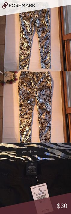 💥HP💥Ashley Stewart Silver/Black Zebra Print Pant Ashley Stewart Metallic Foil Zebra Print Pants. Size 16. 70% Cotton, 28% Polyester, 2% Spandex Ashley Stewart Pants Skinny
