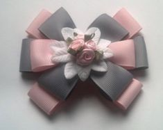 Pink Rose Hairbow, Pink and Gray Hairbow, Flower Hairbow, Pink Hair Accessory, Hairbow for Girls, Gray Hair Accessory, Formal Hairbow