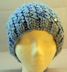 wool hat with tassel and rhinestones by WoollyLoveHome on Etsy