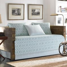 Tommy Bahama Home Catalina Trellis Harbour Blue Daybed Set Bedding Daybed Cover Sets, Daybed Sets, Daybed Bedding, Ruffle Bedding, Bedding Sets, Tommy Bahama, Urban Outfitters, White Trellis, Shabby