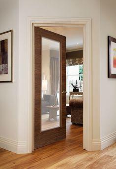 Orta G8501 Walnut bespoke door - beautiful glazed walnut door perfect for modern homes