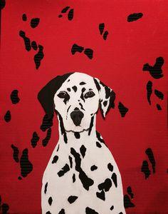 Cardboard cutout/Acrylic Paint of a Dalmatian