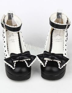 3fd34f1ae06 Black Bow PU Prism Heel Lolita Shoes for Girls Goth Shoes