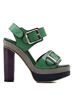 Chrissie Morris Ida Colorblock Sandal in Green