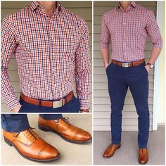First Day of Spring ⚪️ I thought the first day of Spring needed a pop of color❗️ A double gingham shirt like this one is an easy way to add some color, like the orange here, but still keep it grounded with the blue and white in the shirt. Outfits Casual, Mode Outfits, Fashion Outfits, Stylish Men, Men Casual, Mens Buisness Casual, Mens Casual Shirts, Business Casual Outfits Mens, Men Shoes Casual