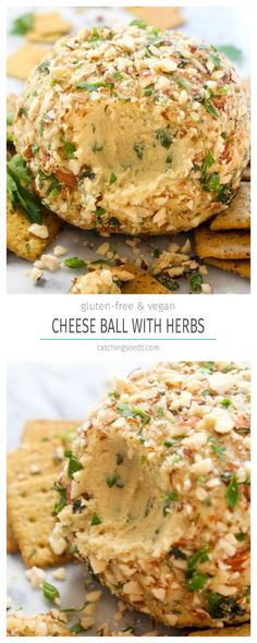 This Vegan Cheese Ball recipe with Herbs is a make-ahead party appetizer that is sure to please a crowd! It is rich, creamy, spreadable, and full of fresh herb flavor. | CatchingSeeds.com