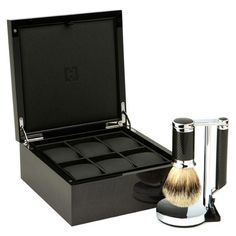 CARBON & WATCH BOX Our elegant gift box highlights the hand-woven carbon fiber in this sleek shave set created with luce grey veneer from Italy and anigré wood from Tanzania.