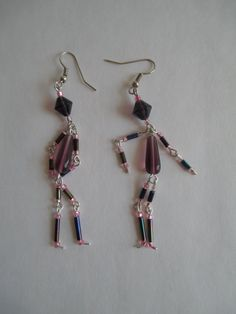Beaded Earrings shaped like peopleSilver by PaintedPonyGallery, $18.00