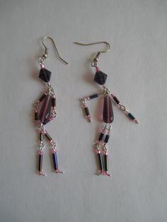 Beaded Earrings shaped like peopleSilver by PaintedPonyGallery, $18.00