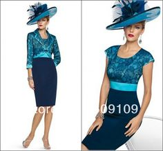 2014 Fashion Mother of the Bride Dresses Short Sleeve Sheath Satin And Lace With Jacket Knee-Length Formal/Evening Dress Custom US $149.00