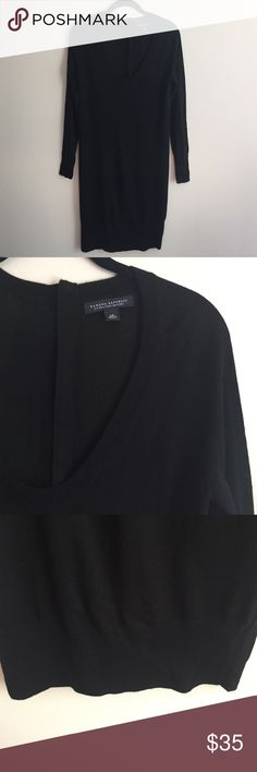 Banana Republic black sweater dress Banana Republic black extra fine merino sweater dress w/ribbed scoop neck, banded bottom, scoop neckline and exposed zipper down back, great condition worn only once! - posted in teal to show fit! Banana Republic Dresses