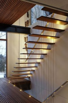 Modern Stairs // wood suspension stairs at The Treehouse by Forestgreen Creation Modern Staircase Création Forestgreen modern Stairs suspension Treehouse Wood Staircase Railings, Staircase Design, Stairways, Staircase Ideas, Moderne Lofts, Modern Stairs, Floating Stairs, Interior Stairs, House Stairs