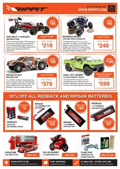 Shop Now! Rippit Special offers on  large range of cars, #multi rotors, #planes, #Powered #boats, helicopters and much more RC Toys. Check out our collection today.