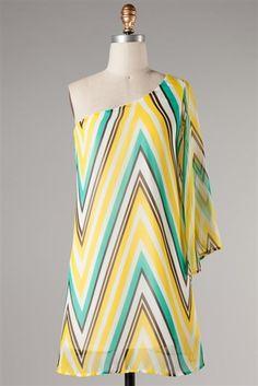 Off Shoulder Zig Zag Dress-Mint-Yellow-White