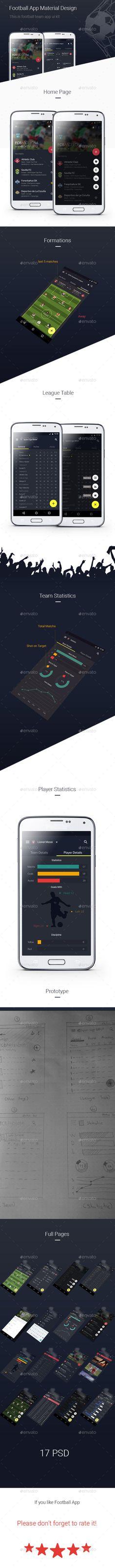 Football App Ui Kit  Material Design #userinterface Download: http://graphicriver.net/item/football-app-ui-kit-material-design/12097670?ref=ksioks