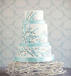 3-layer turquoise cake - liking the flower stems design