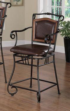 "24"" Bronze Metal & Upholstered Bar Stool"