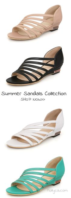 $35.29 USD Sale!SHOP NOW! Large Size Peep Toe Wedge Sandals Shoes