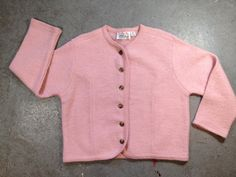 vintage 1980s does 1960s wool cardigan sweater in pink. retro clothing. | ReRunRoom | $30.00