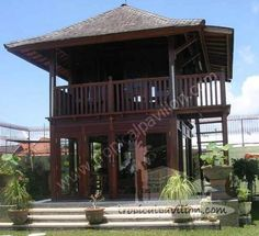 Traditional Indonesian wooden house.