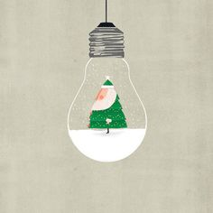 Santa In The Bulb Art Print