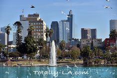 Lake at MacArthur Park with LA Skyline