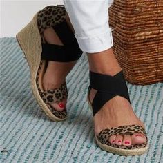 Descriptions: Style: Daily,Casual Item: Slippers Upper Material: PU Toe: Peep Toe Closure Type: Slip-On Heels: Wedge Heel Package included: 1 Pair of Sandals N Leopard Sandals, Lace Up Sandals, Wedge Sandals, Wedge Shoes, Ladies Sandals, Shoes Sandals, Leopard Espadrilles, Boho Sandals, Women Sandals