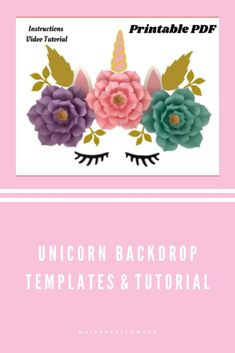 This set of paper flowers templates is great to make this unicorn paper flowers backdrop. They are printable to use with Printer. Click through to find the templates and tutorials!!!  #paperflowerstemplate #paperflowersprintable #unicornpaperflowers  #unicornpaperflowerstemplate #paperflowersbackdrop #flowertemplateprintable